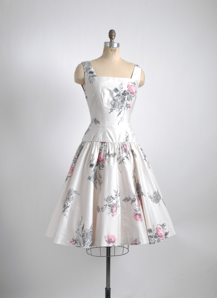 1950s sequin Jr Flair white polished cotton floral dress