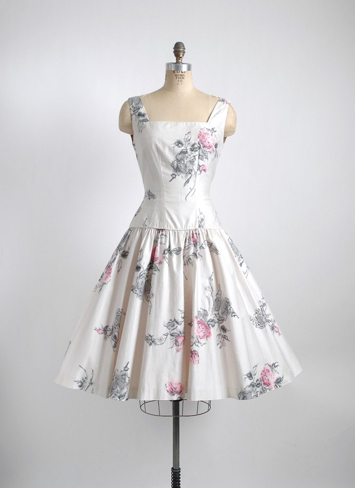 1950s sequin Jr Flair white polished cotton floral dress