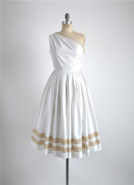 rare 1950s Greta Plattry Greek key dress
