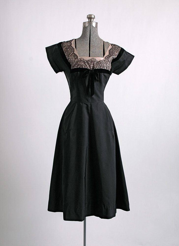 1950s Bullock's silk faille dress (repair project)
