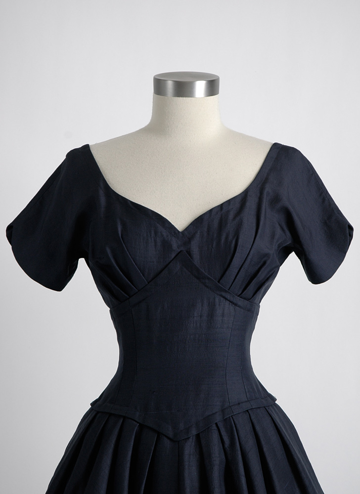 1950s dark blue raw silk evening dress