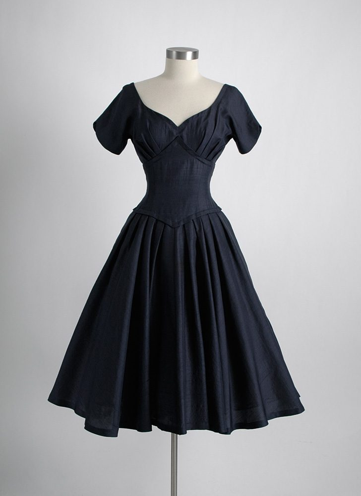 1950s dark blue raw silk evening dress