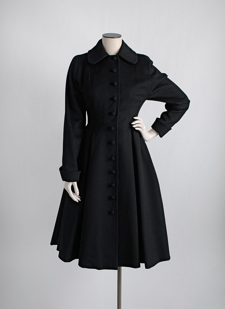 1950s black wool button front princess coat