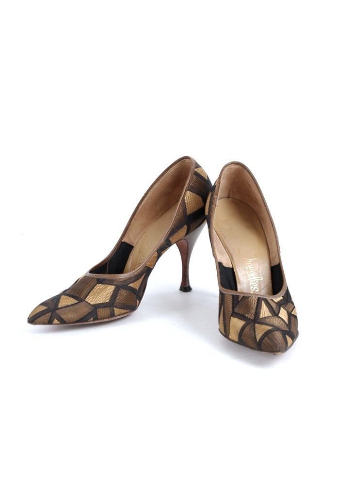 1950s Tweedies gold black stiletto heels 7B