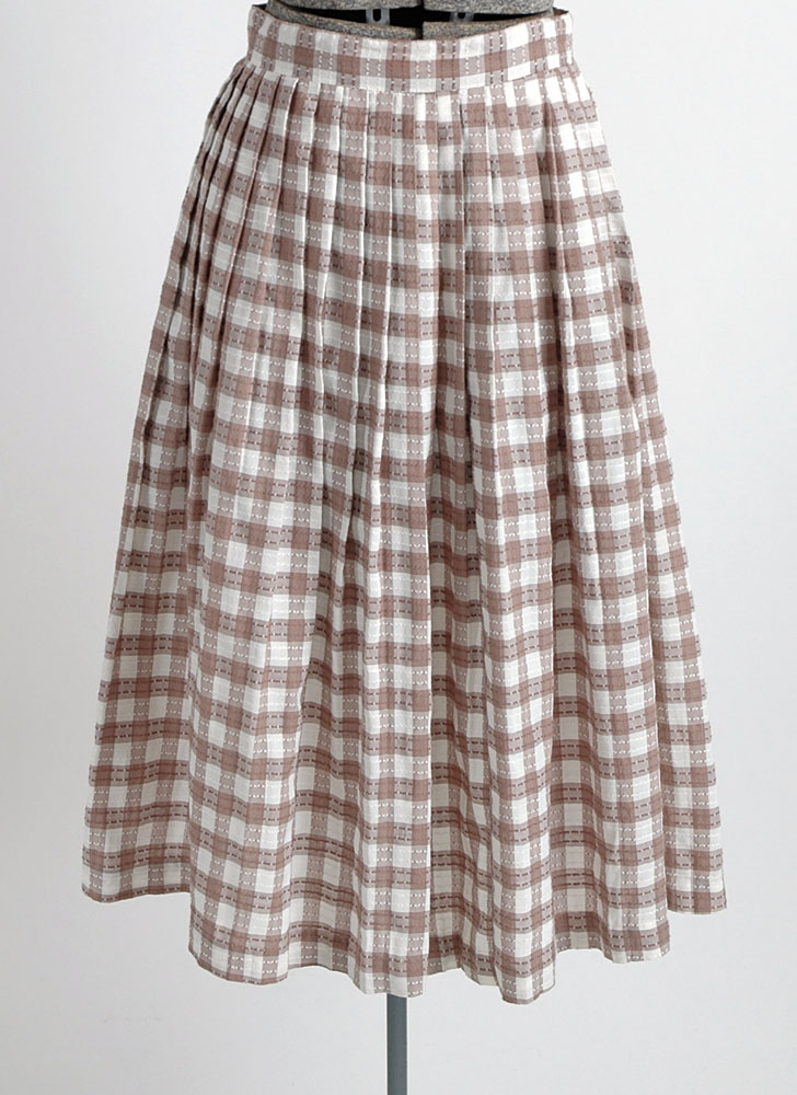 1950s 60s brown and white check skirt