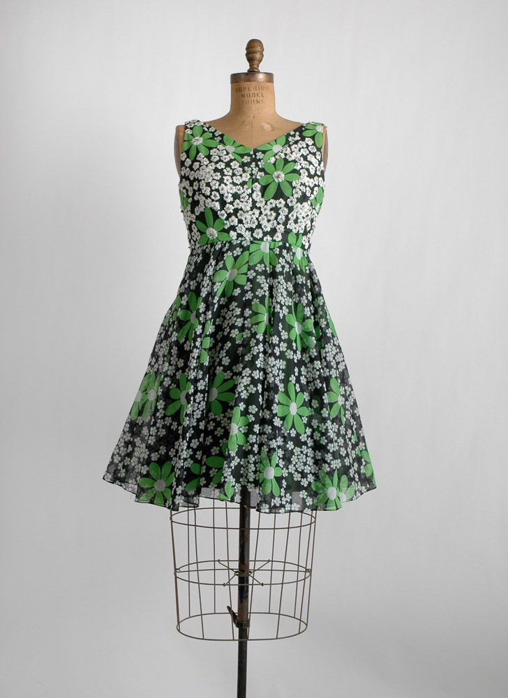 1960s Modern Couture rhinestone + sequin dress