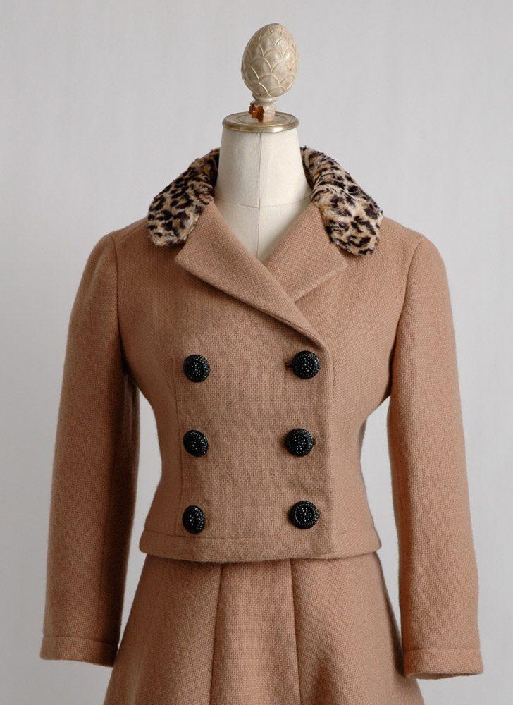 1960s leopard collar Jacques Heim suit