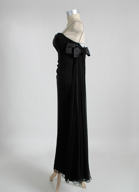 1950s 1960s HELENA BARBIERI draped silk chiffon evening gown