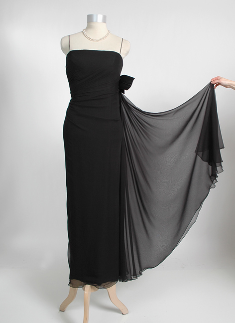 1950s 1960s Helena Barbieri Draped Silk Chiffon Evening