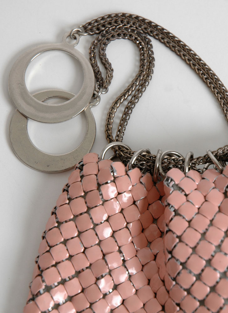1950s pink enameled mesh drawstring bag