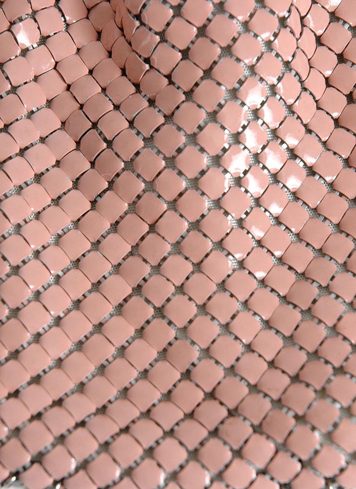 1950s pink enameled mesh drawstring bag