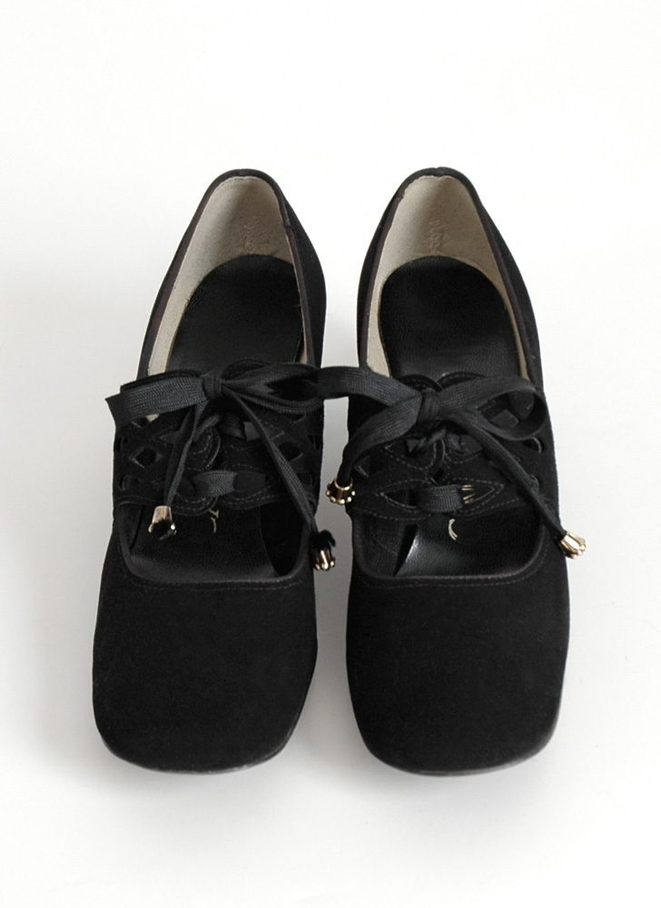 1960s Carlton black suede mary jane shoes