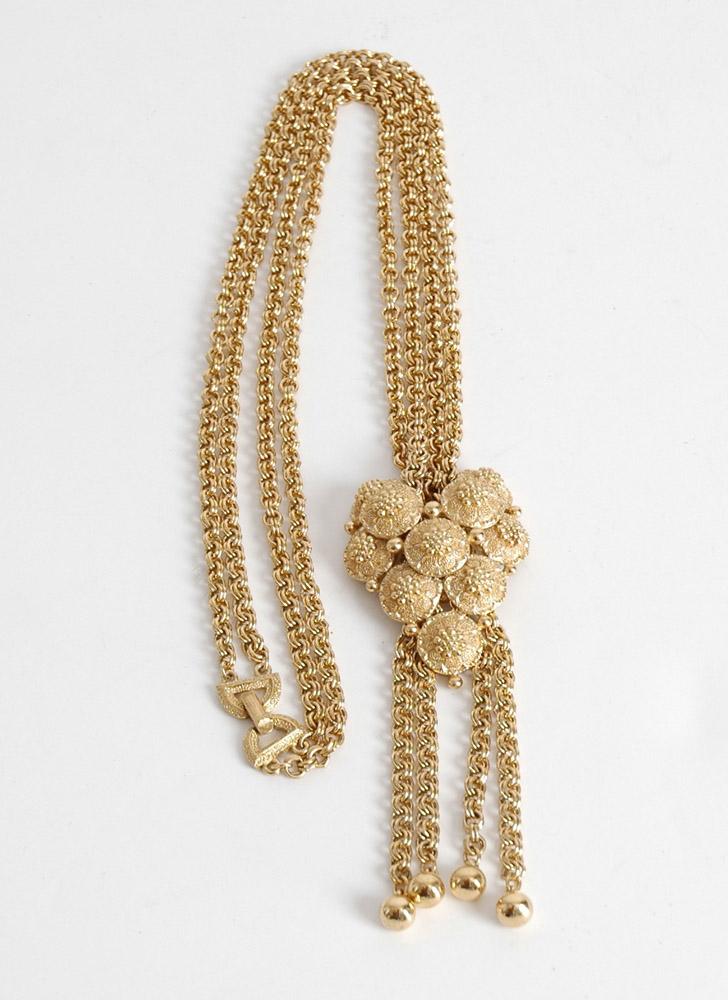 vintage Trifari gold lariat necklace