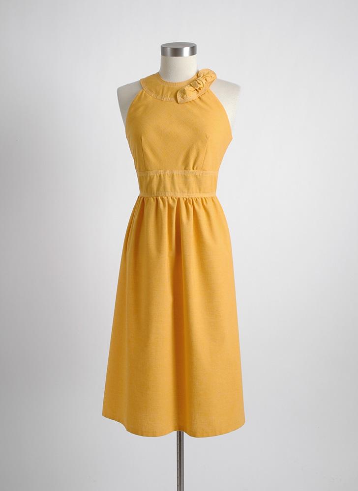 1960s vintage yellow slubbed fabric dress with stitching