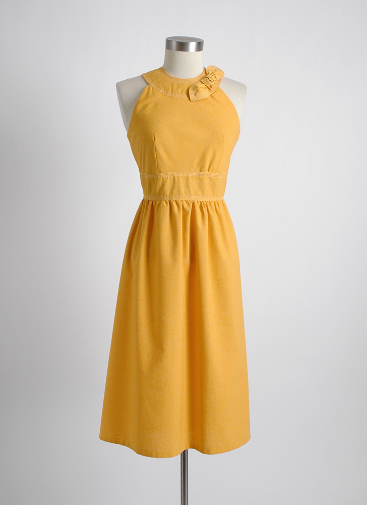 1960s vintage yellow slubbed fabric dress with stitching
