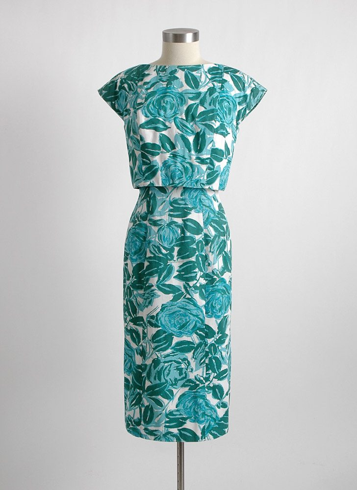 1950s 60s Garfinkel's cotton curve-hugging dress