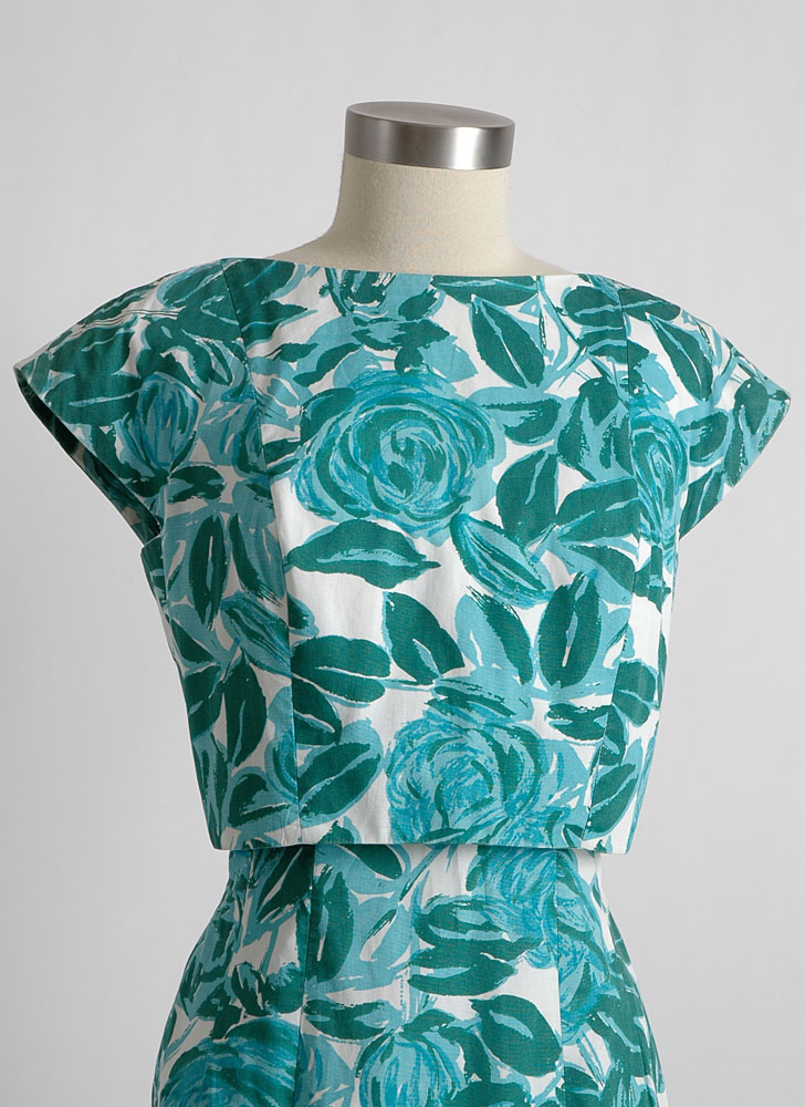 1950s 60s Garfinkel's cotton curve-hugging dress