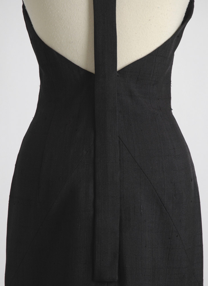 1950s 1960s Grenelle Estévez raw silk cocktail dress