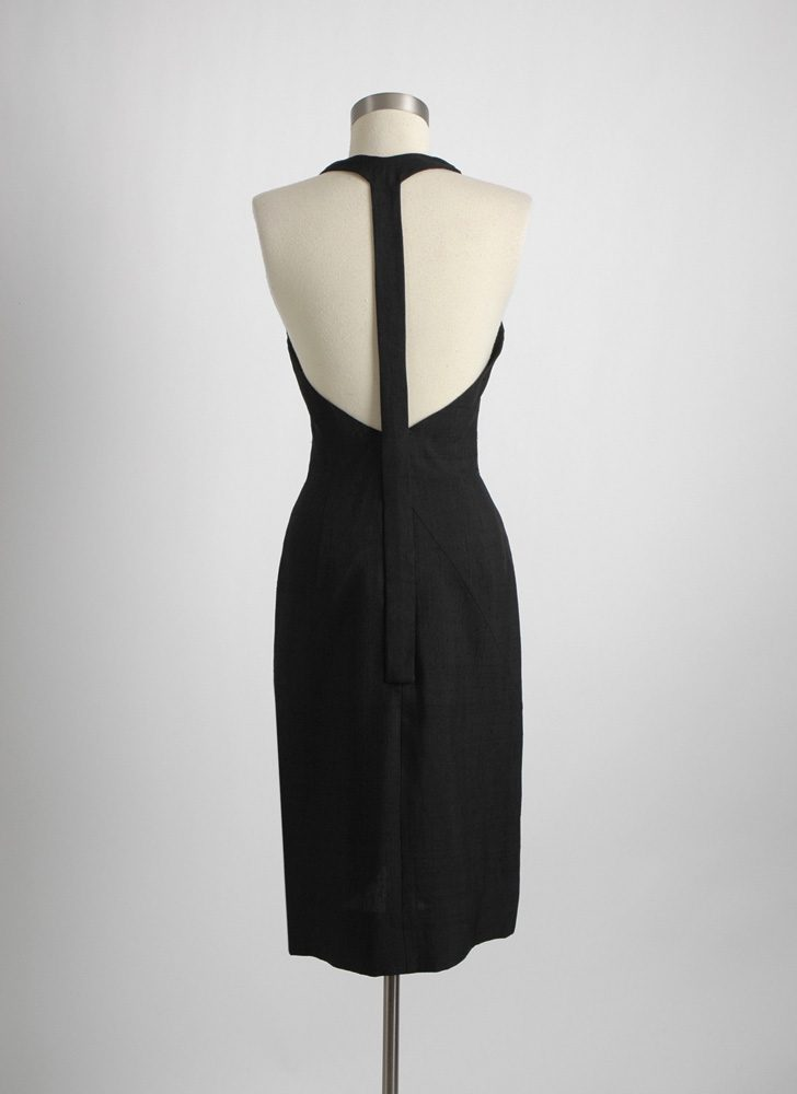 1950s 1960s Grenelle Estévez raw silk cocktail dress