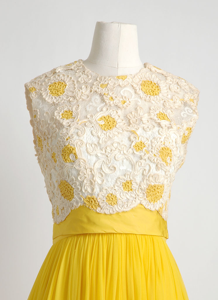 1960s Lee Claire yellow chiffon and lace gown