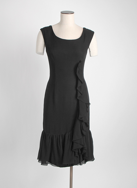 1960s Edward Abbott black silk chiffon ruffle dress