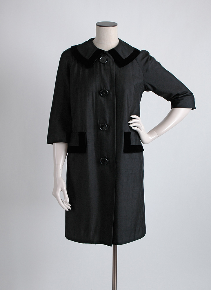 early 1960s Halle Bros black raw silk + velvet coat