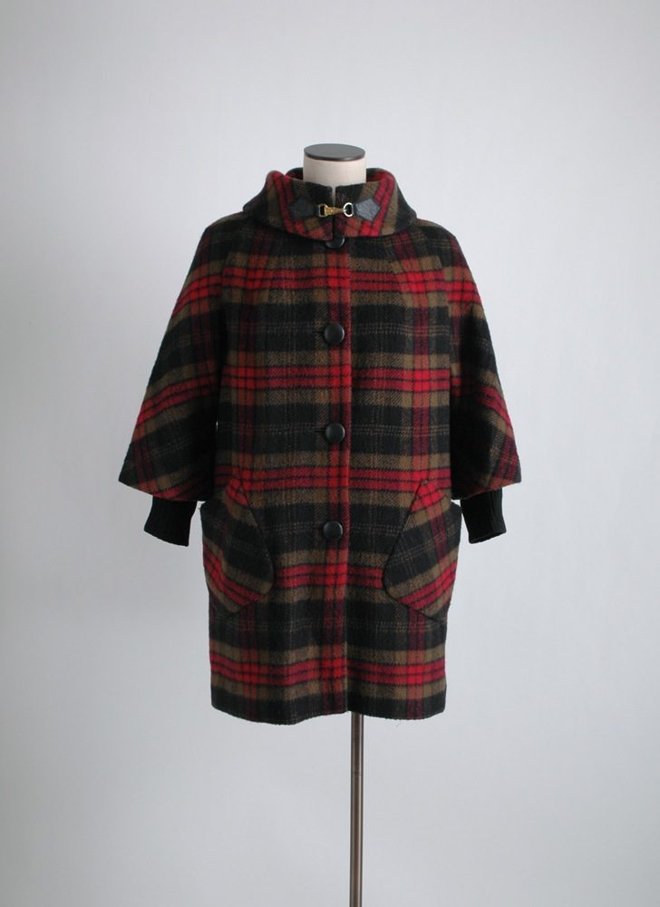 1960s plaid wool coat Cashin style