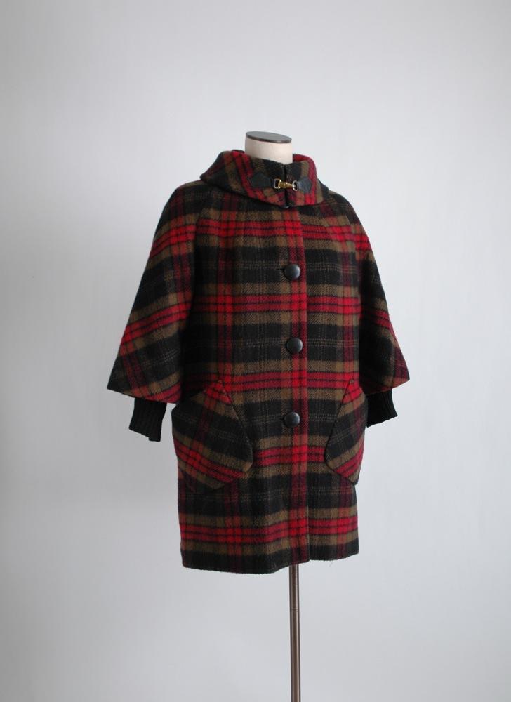 1960s plaid wool coat Cashin style