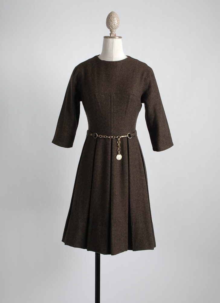 1960s brown herringbone wool dress + belt