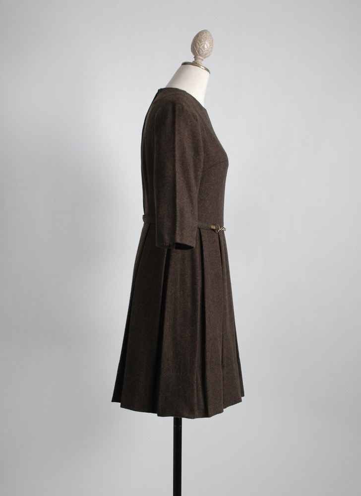 1960s brown herringbone wool dress + belt