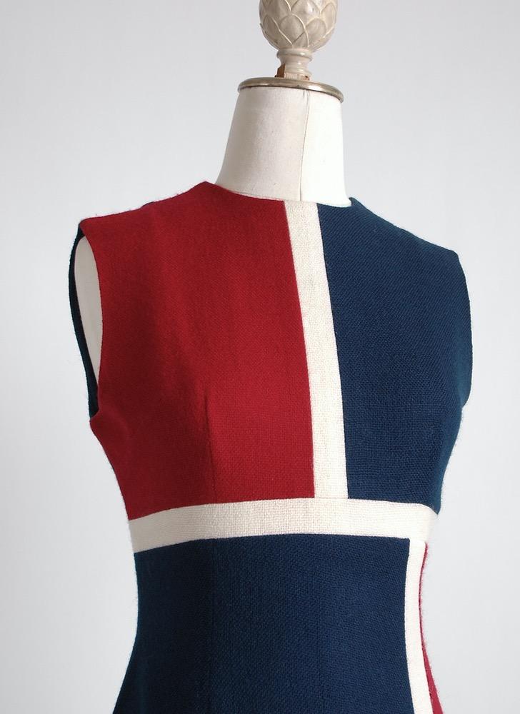 1960s wool blend colorblock dress