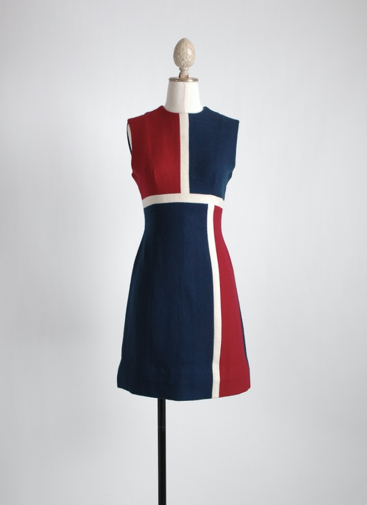 1960s wool blend colorblock dress