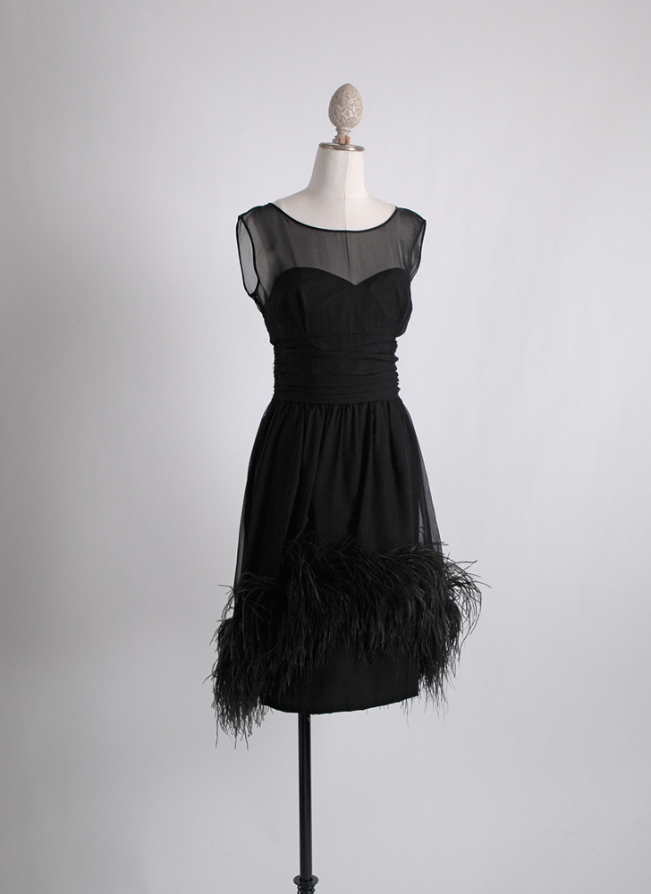 1950s 60s feather trimmed cocktail dress