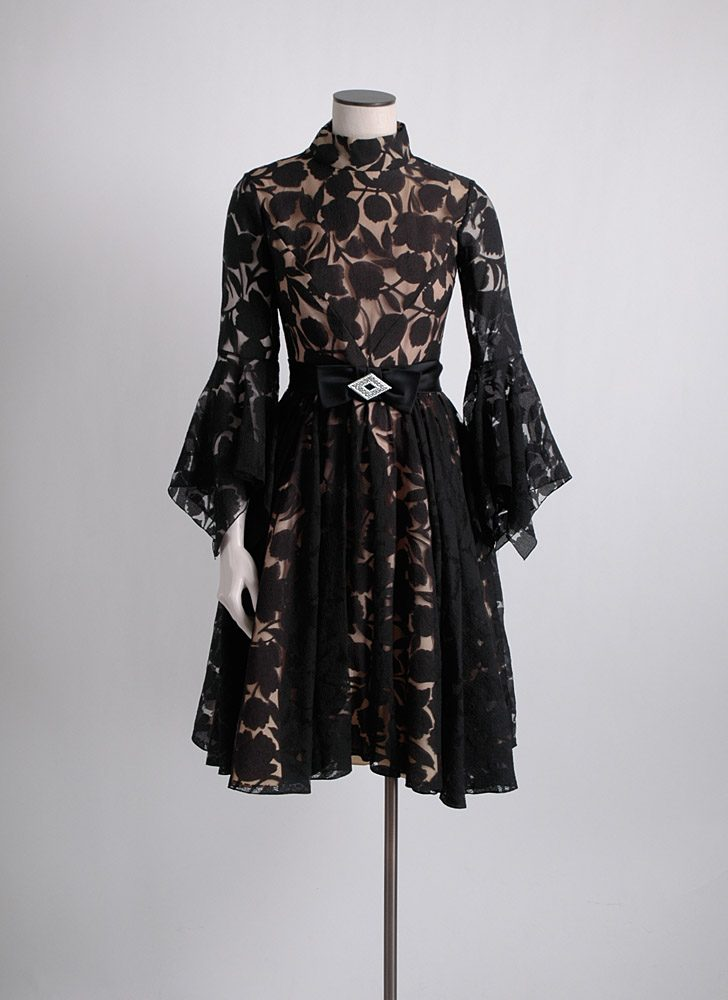 1960s dramatic sleeves chiffon cocktail dress