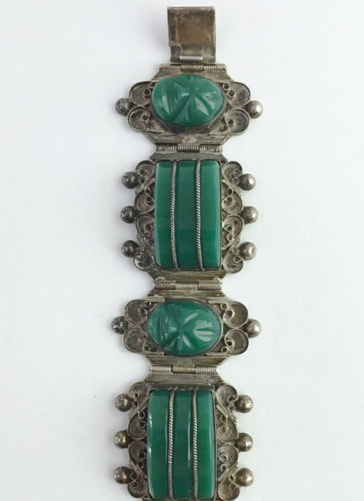 vintage Mexican silver + green onyx bracelet