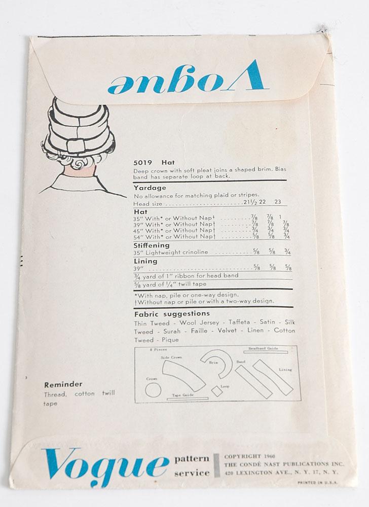 1960s Vogue 5019 hat pattern