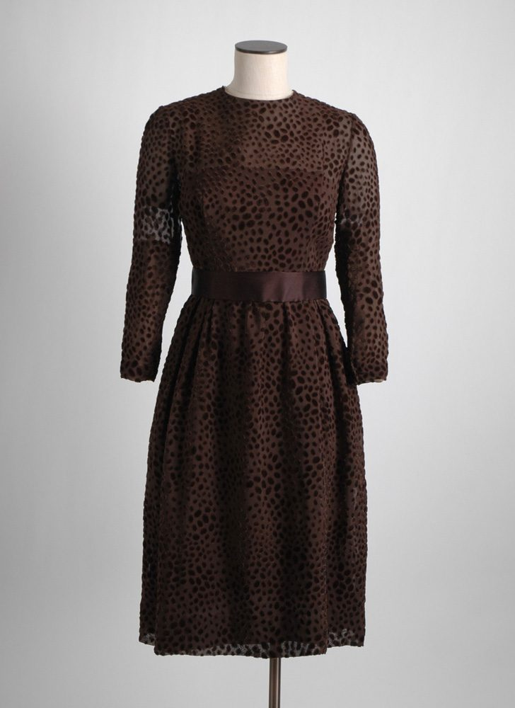 1960s 70s Mollie Parnis brown burnout velvet dress (repair)