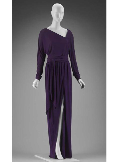 RARE 1970s silk jersey asymmetrical HALSTON evening gown