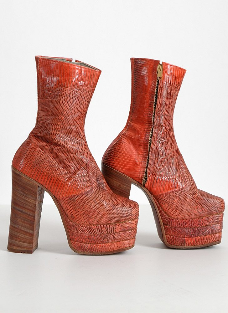 1960s 70s reptile skin Japanese platform boots 5 1/2