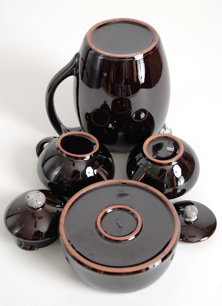1960s 70s drip glaze tea/coffee set Old Hickory Nasco Japan