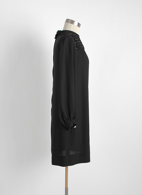 1960s Saks Fifth Avenue crepe dress + smocking