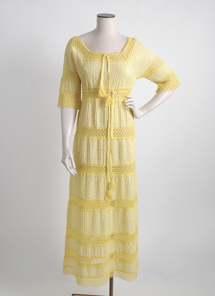 1970s yellow pintucked cotton + crochet peasant dress