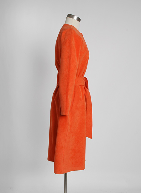 1970s HALSTON orange ultrasuede dress