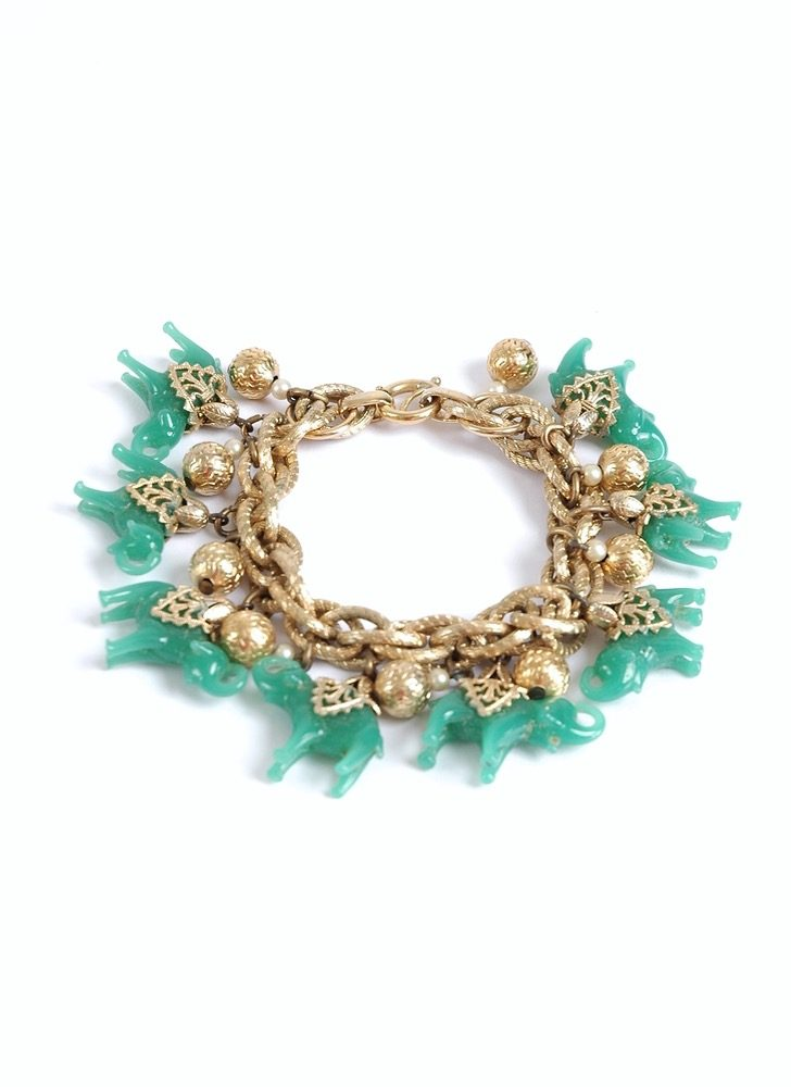 vintage Napier jade green glass elephant charm bracelet