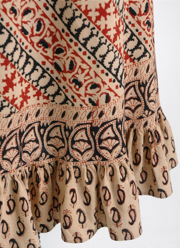 1970s India cotton ruffle block-print dress