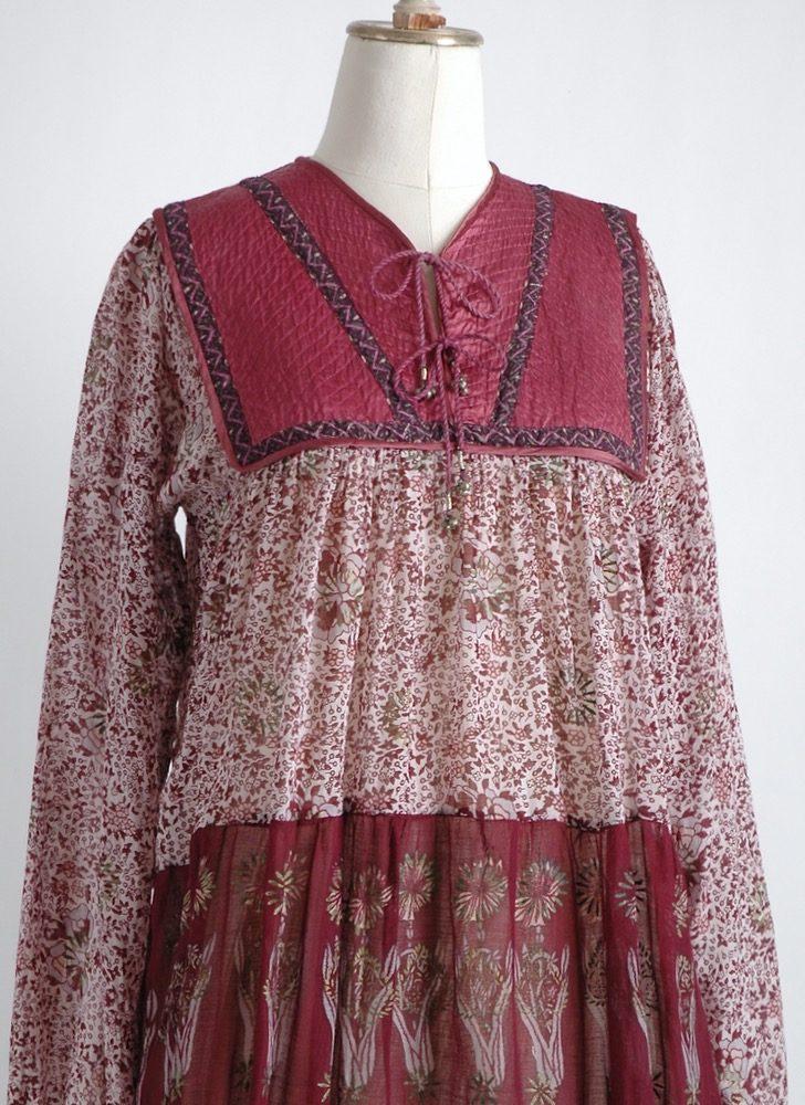 1970s gauze bib Indian peasant dress old stock