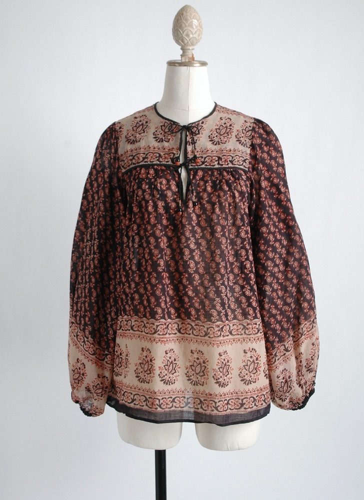 1970s Indian cotton gauze blouse old stock