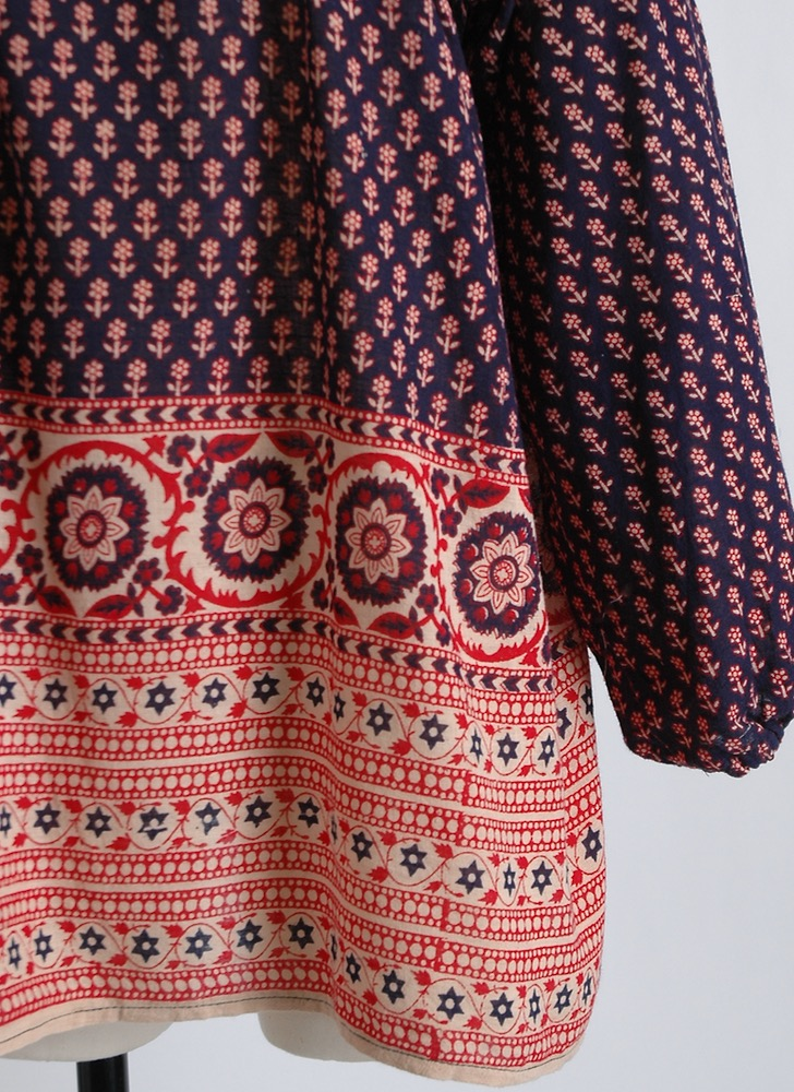 1970s printed Indian cotton blouse old stock