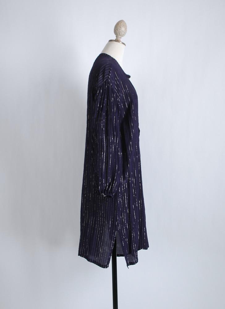 vintage rayon gold stripe lurex Indian tunic