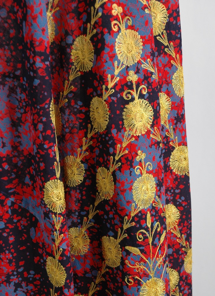 1970s India embroidered wrap skirt old stock